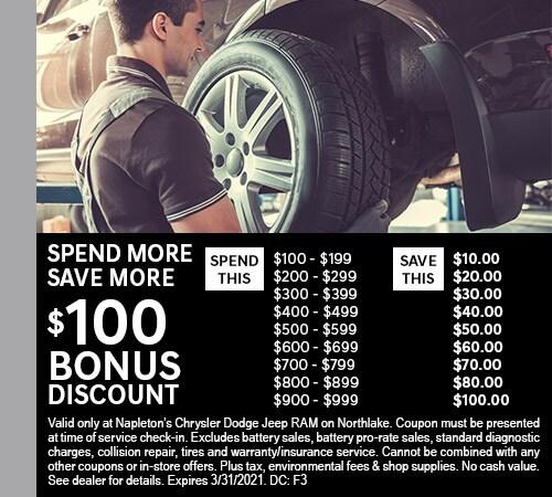 Spend More! Save More! $100 Bonus Discount on Service.