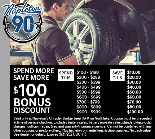 Spend More! Save More! $100 Bonus Discount on Service.