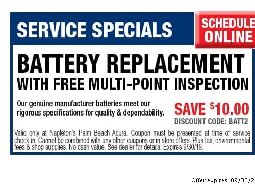 photo regarding Printable Coupons Acura Service called Napletons Palm Beach front Acura Provider Promotions West Palm Seashore