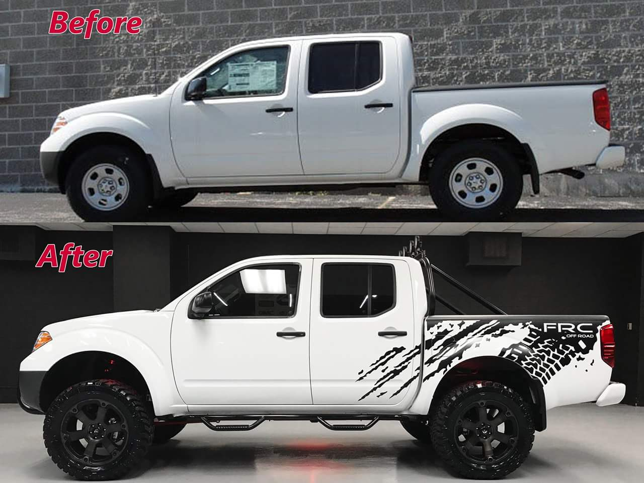 Before and After Picture of a Lifted Nissan Titan