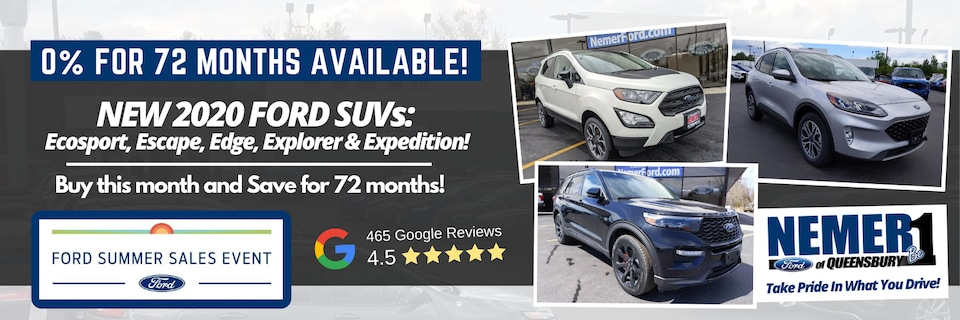0% for 72 months on Ford SUVs