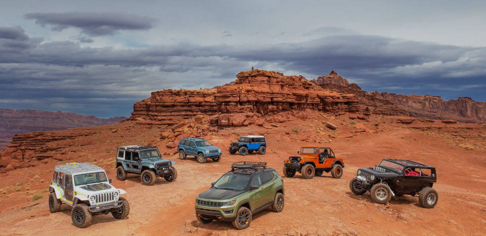 Lineup of Jeep models