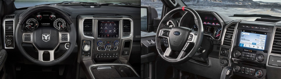 2018 RAM 1500 and Ford F-150 Interior side by side image