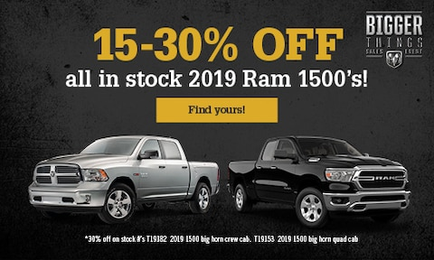 15-30% off all in stock 2019 Ram 1500's!