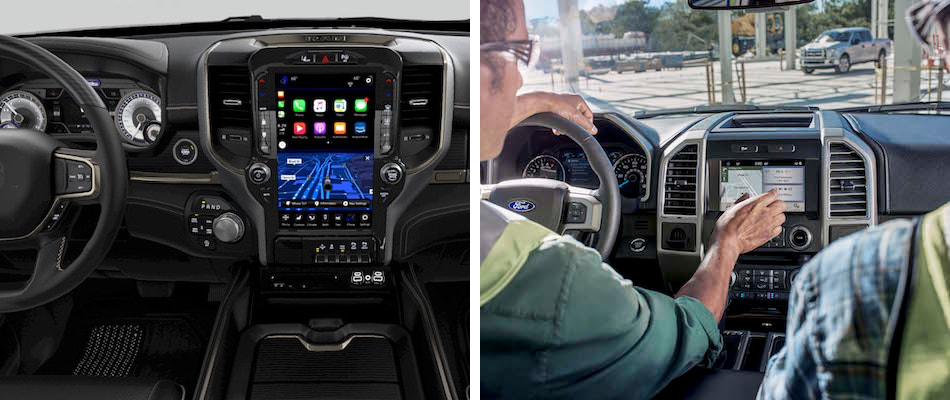 The interior dashboard on the 2019 Ram 1500 & 2019 Ford F-150