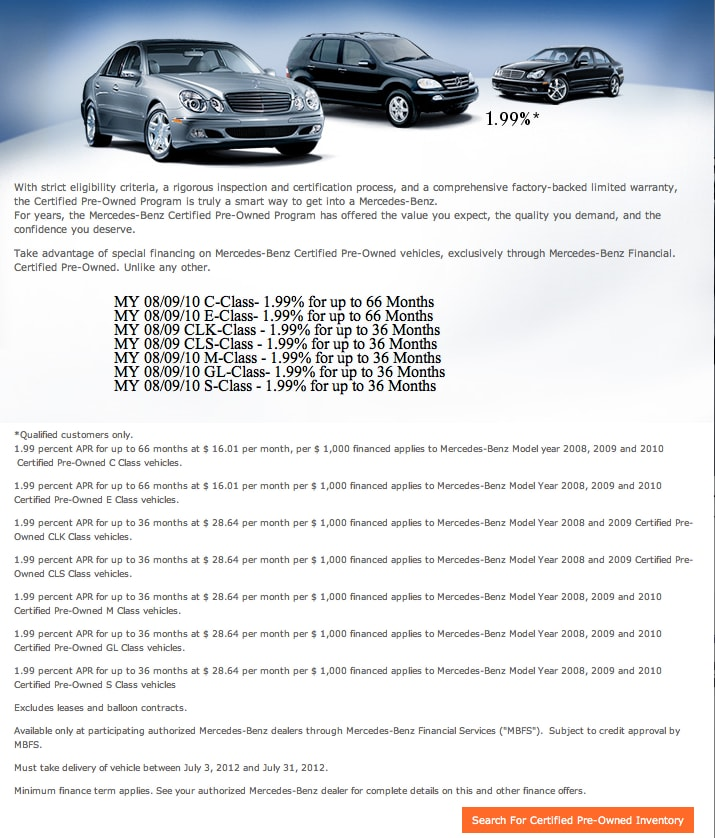 Preowned lease financing and sales specials used Mercedes benz certified pre owned lease