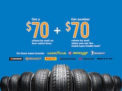 Buy Four Select Tires, Get a $70 Rebate By Mail.