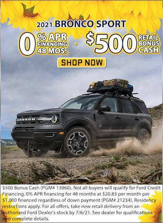 0% APR for 48 Months + $500 Retail Bonus Cash!