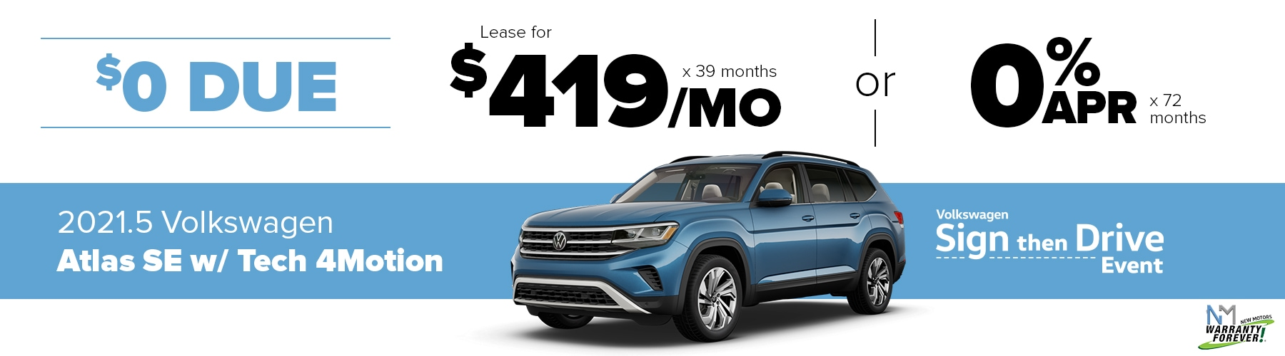 New Motors VW Monthly Offer Atlas Sport