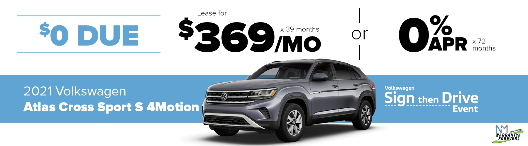 New Motors VW Monthly Offer Atlas SE