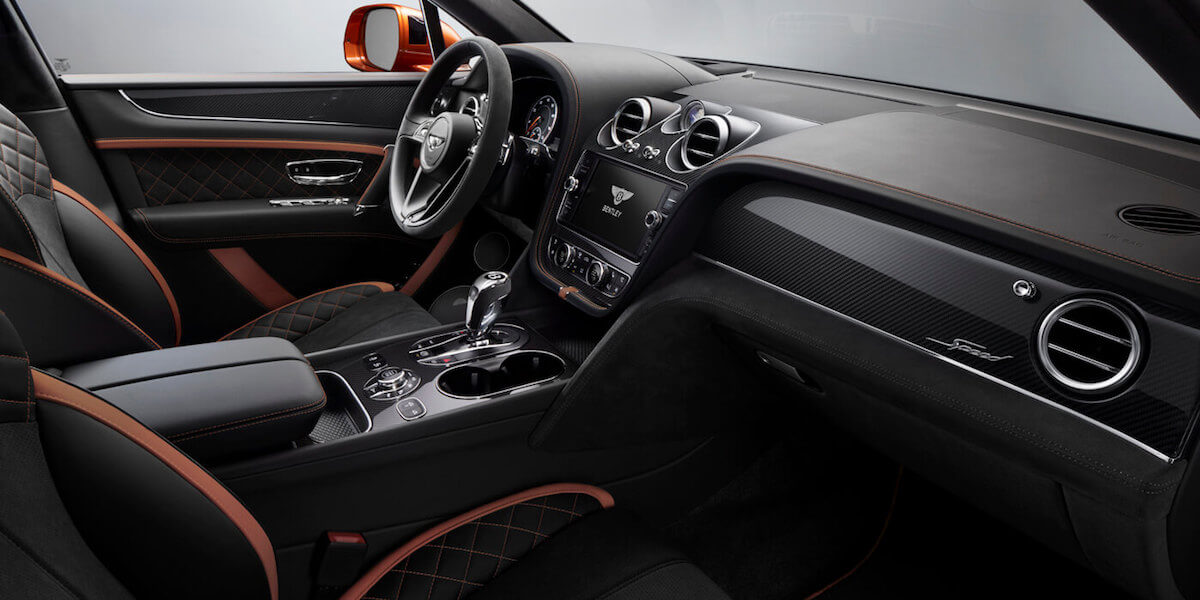 Bentley Bentayga Speed interior in Black and Orange
