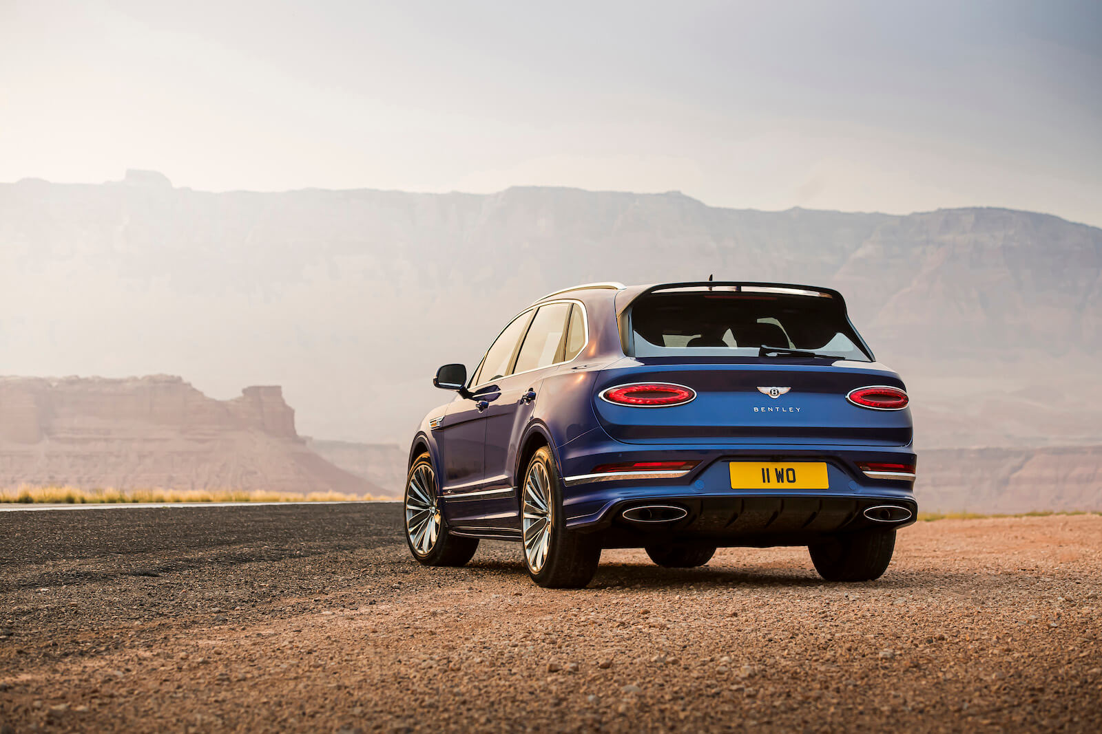 2021 Bentley Bentayga Speed in Moroccan Blue rear view
