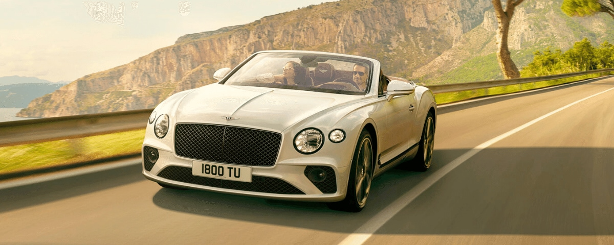 White Bentley Continental GT Convertible with Lane Assist
