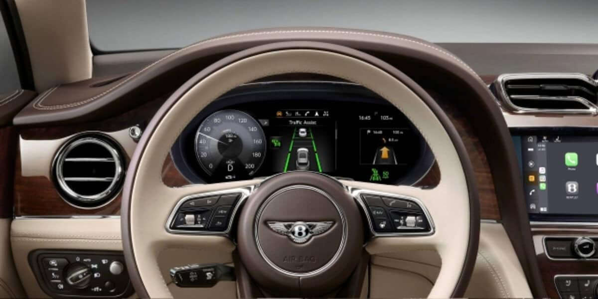 Adaptive Cruise Control display on the 2021 Bentley Bentayga dashboard