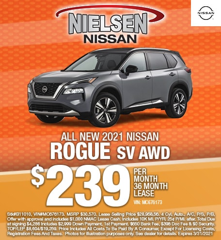 New 2021 Nissan Rogue SV AWD Lease Offer
