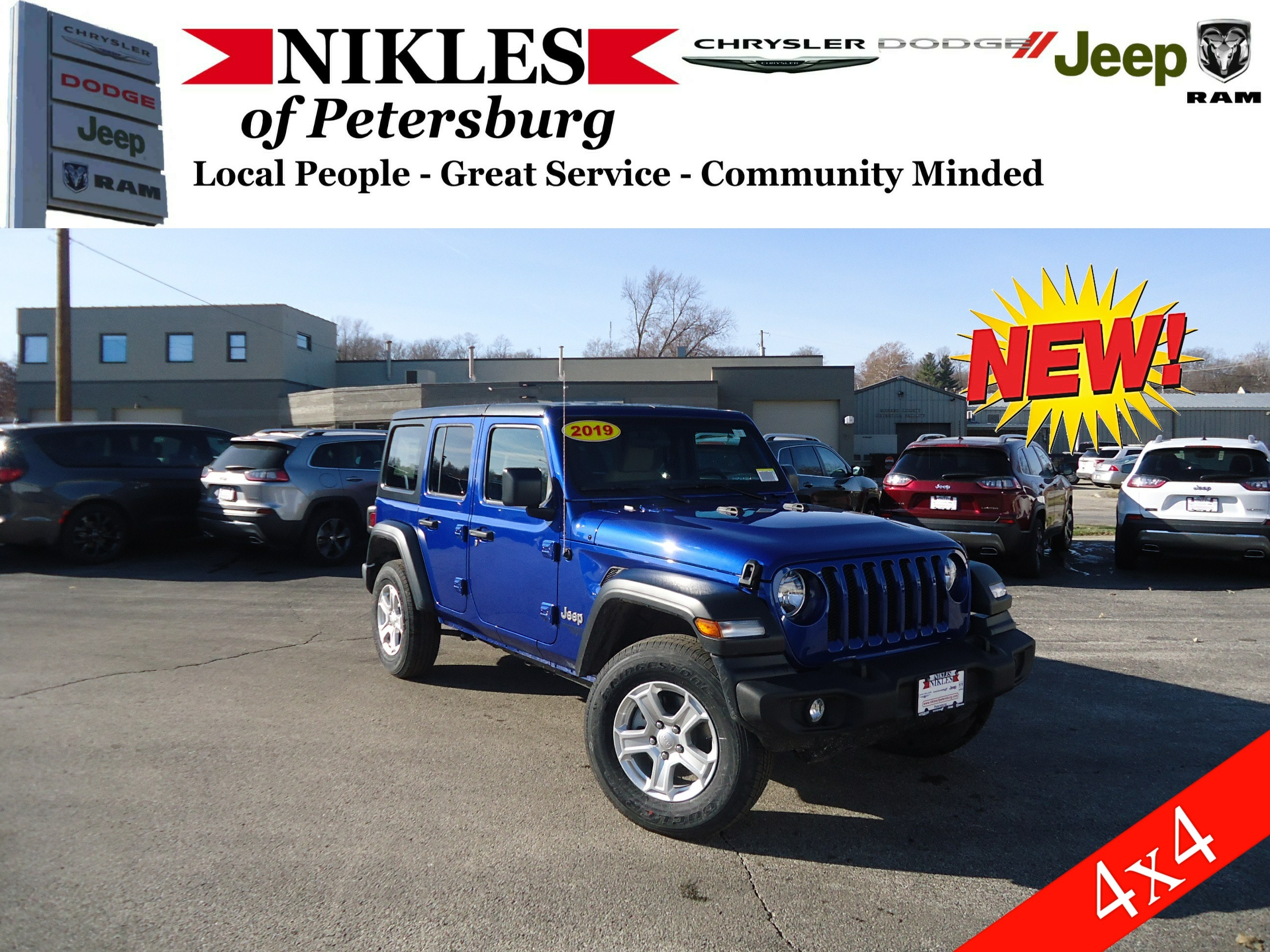New 2019 Jeep Wrangler Unlimited Sport S 4x4 For Sale Petersburg Il 1960 Willys Used