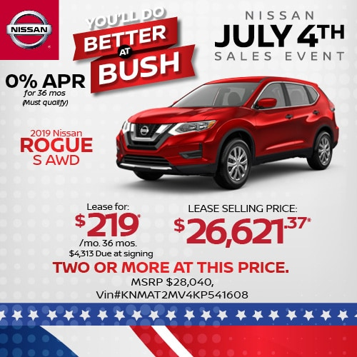 Lease a 2019 Nissan Rogue for $219/mo.