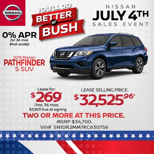 Lease a 2019 Nissan Pathfinder for $269/mo.