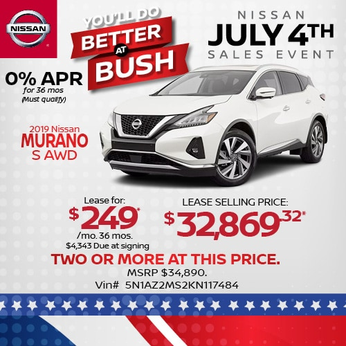 Lease a 2019 Nissan Murano for $249/mo.
