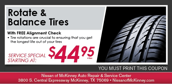Rotate Balance Tires Nissan Of Mckinney Service Coupon