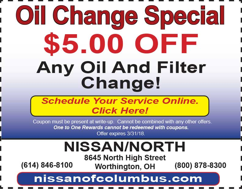 Oil Change Coupons Columbus Ohio >> Service Specials Nissan North