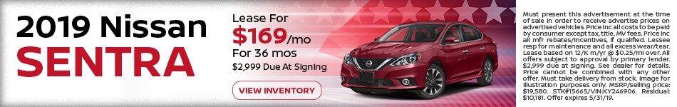 May 2019 Nissan Sentra Lease
