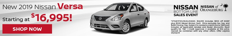 2019 Nissan Versa Aug Offer