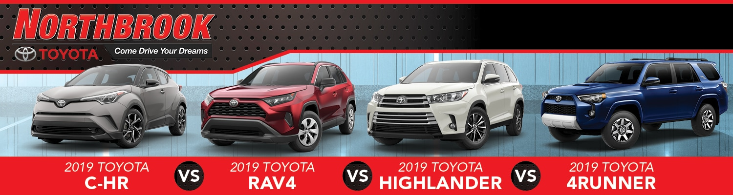 Toyota 4Runner vs Toyota C-HR vs Toyota RAV4 vs Toyota Highlander promotional banner