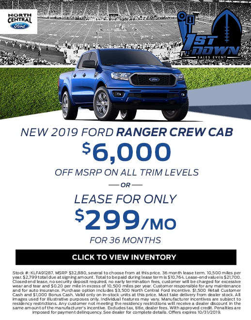 2019 Ford Ranger Purchase & Lease Special