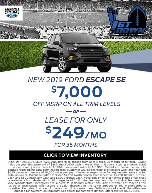 2019 Ford Escape Purchase & Lease Special