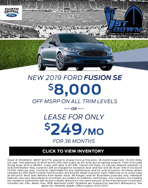 2019 Ford Fusion Purchase & Lease Special