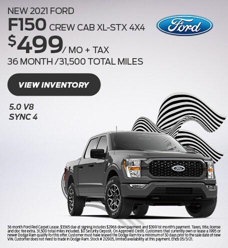 New 2021 Ford F150 CREW CAB XL-STX 4X4