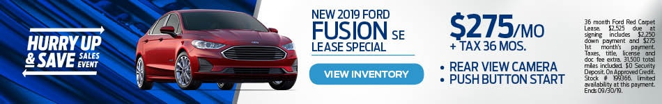 2019 Ford Fusion SE Lease Special