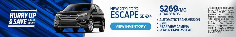 2019 Ford Escape SE 4X4 Lease Special