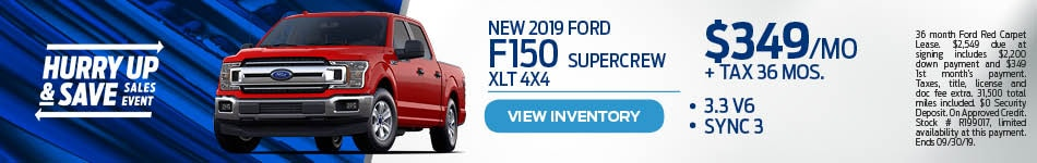 2019 Ford F150 SuperCab XLT 4X4 Lease Special