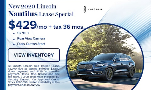 New 2020 Lincoln Nautilus Lease Special