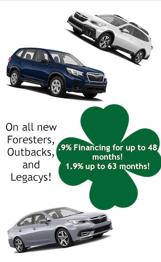 .9% Financing on new Foresters, Legacys, and Outbacks for up to 48 months!