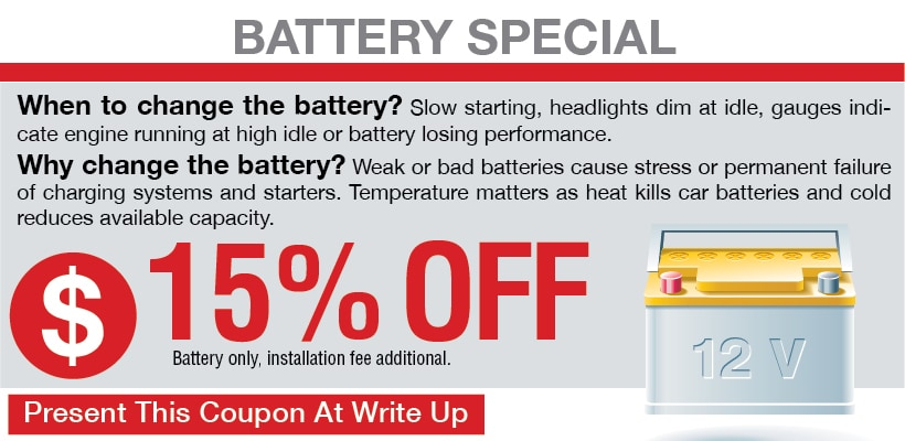 Battery Coupon, San Antonio, TX Automotive Service Special Special