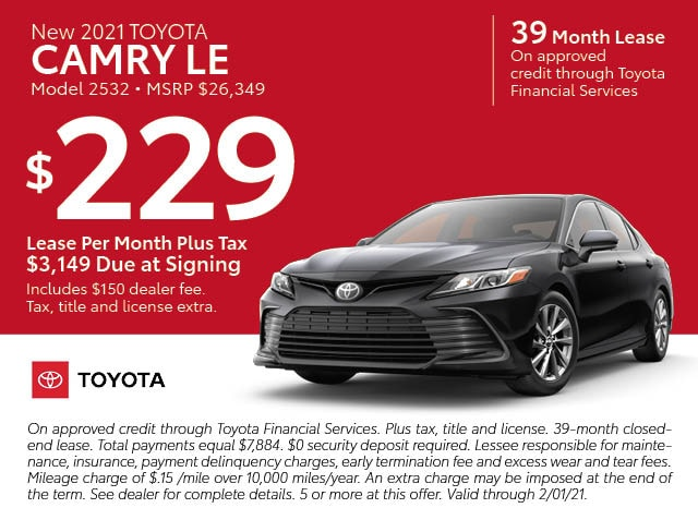 January Lease specials - Camry