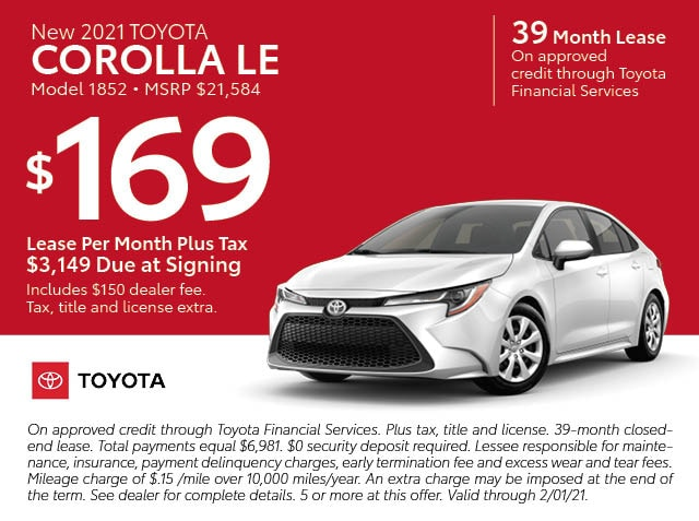 January Lease specials - Corolla