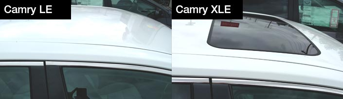 Camry LE vs Camry XLE moonroof | Northridge Toyota, serving Chastworth