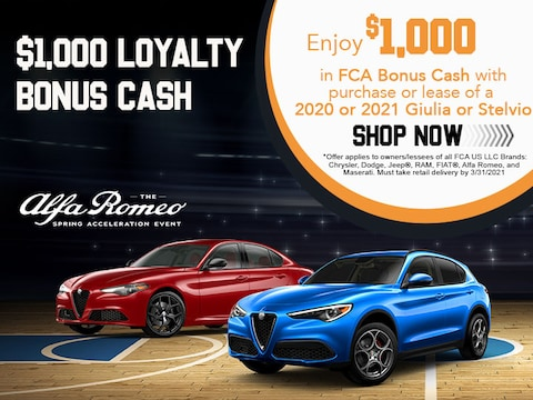 $1,000 Loyalty Bonus Cash When Purchasing a 2020 or 2021 Giulia or Stelvio!