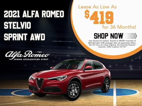 2021 Alfa Romeo Stelvio SPRINT AWD Lease as Low as $419 for 36 Months!