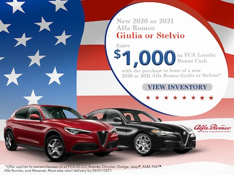 Enjoy $1,000 in Bonus Cash 2020 or 2021 Alfa Romeo Giulia or Stelvio