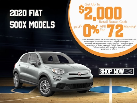 2020 Fiat 500X Models Get Up To $2,000 Retail Bonus Cash!