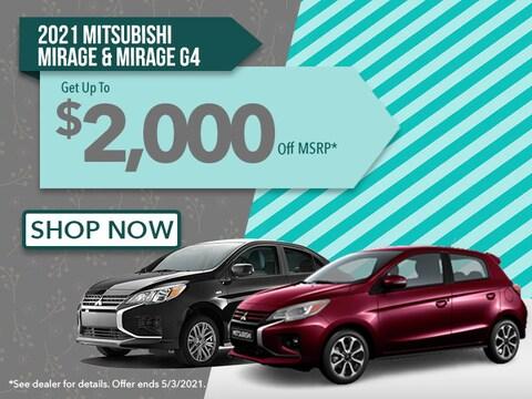 2021 Mitsubishi Mirage & Mirage G4: Up to $2,000 Off MSRP!