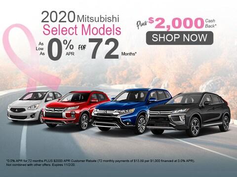 2020 Mitsubishi Select Models 0% for 72 Mos