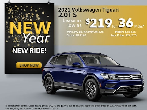 2021 VW Tiguan 2.0T S: Lease as low as $219/mth for 36mths!