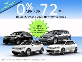 Save Now with 0% APR for 72 Months on all 2019 & 2020 New VW's