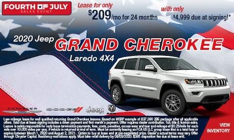 July 4th- 2020 Jeep Grand Cherokee Laredo 4X4